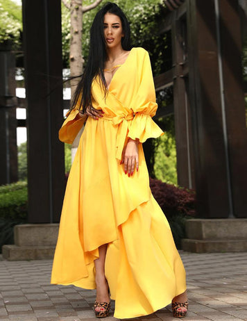 Sexy V-Neck Open Back Yellow Irregular Belted Wrap Maxi Dress