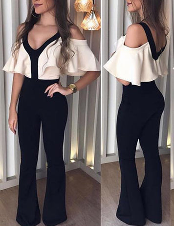 Sexy V-Neck Ruffle Slim Fit Romper Cocktail Party Jumpsuit