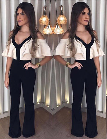 Sexy V-Neck Thin Waist Jumpsuit