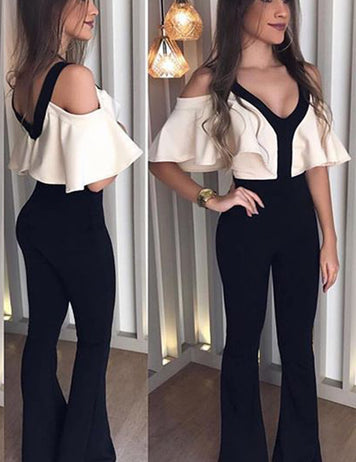 Sexy Women's V Neck Ruffle Slim Fit Jumpsuit