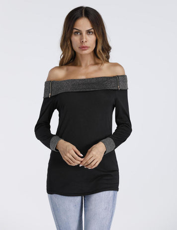 Sexy off Shoulder Zipper Long Sleeve Stitching Cotton Top