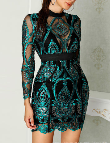 Sheer Mesh Lace Insert Party Dress