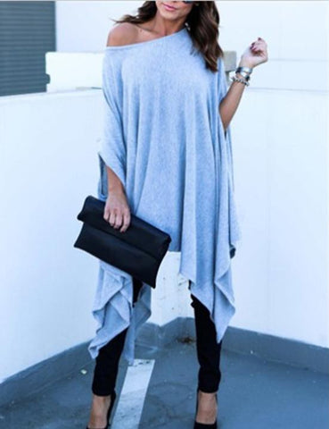 one shoulder casual blue blouse
