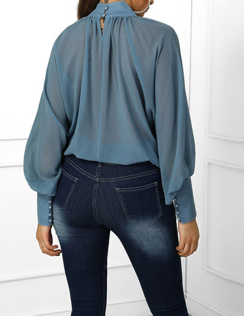Sky Blue Lantern Sleeve Wide Cuff Ruched Blouse