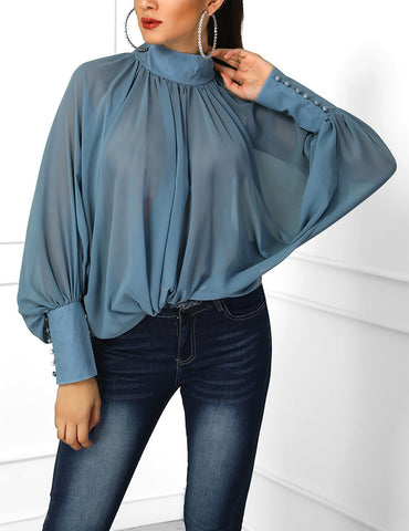 Sky Blue Pleated Stand Collar Bat Sleeve Loose Chiffon Blouse