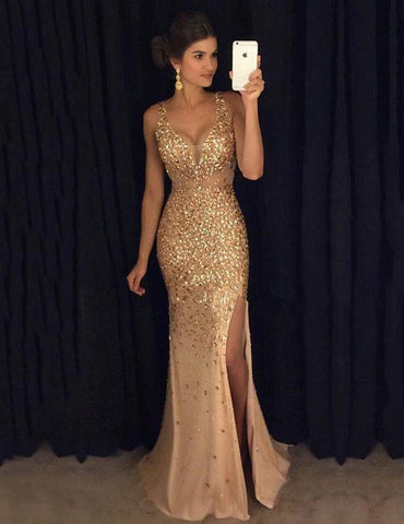 Sleeveless V Neck Sequin Split Long Sheath Dress