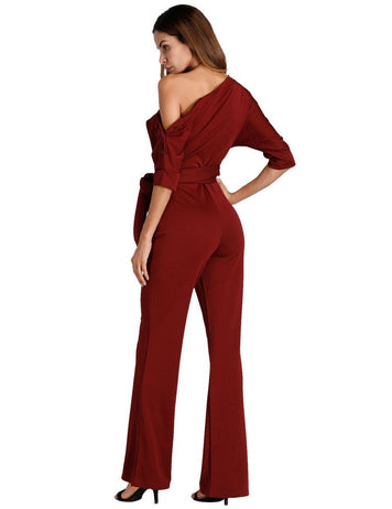 Solid Color Oblique One Shoulder Button Wide-Leg Jumpsuit