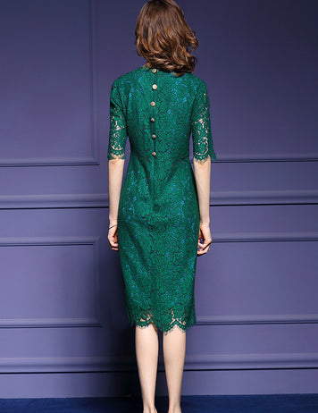 Solid Colored Green Lace Women's Party Dress