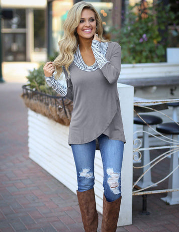 grey casual long sleeved tops