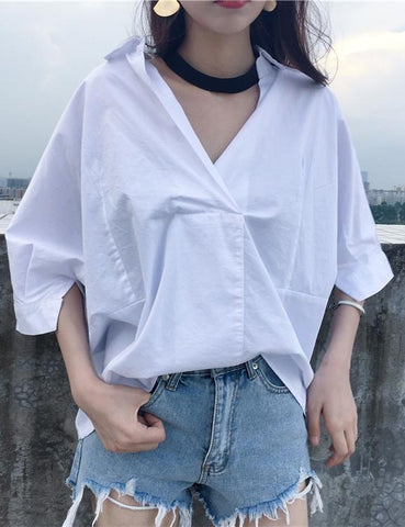 Halter V-Neck Half Sleeve White Blouse