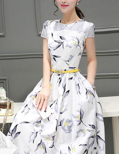 Casual  A-Line Short Sleeve Floral Printed with Belt Midi Dress