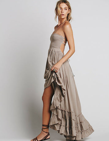 Fashion Sexy Off-Back Lace-up Ruffle Hem Beach Maxi Dress