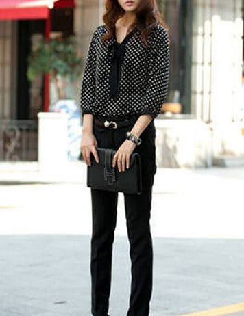 Tie Collar Polka Dot Long Sleeve Blouse