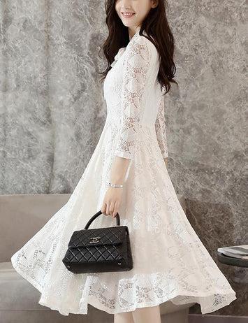 Tied Bowknot White Long Sleeve Lace Midi Dress