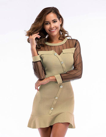 Transparent Mesh Long Sleeve Ruffle Apricot Knit Mini Bodycon Dress
