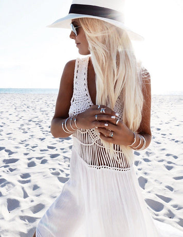 V-Neck Slit Legs Tassel Smock Chiffon Bikini Beach Dress