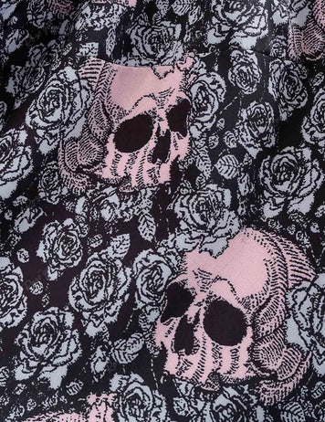 Vintage Round Neck Halloween Skull Printed Sleeveless Dress