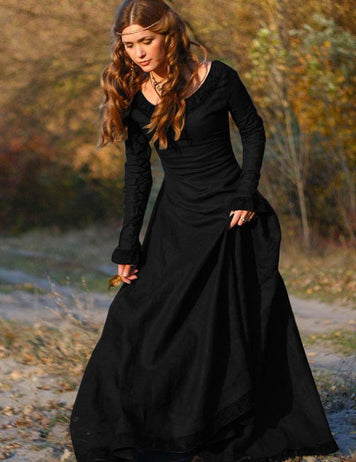 Vintage Round Neck Long Sleeve Hallowmas Party Dress