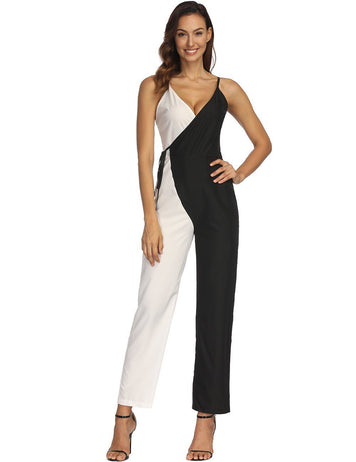 Slip Sexy Black and White Stitching Jumpsuit