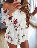 Sexy Off Shoulder White Floral Printed Playsuit