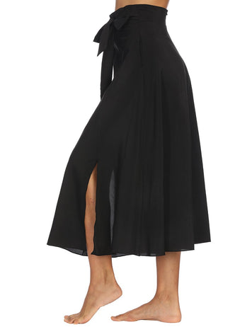 Vintage High Waist Side Split Belted Pocket Pleated Skirt