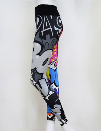 3D Letter Pattern Print Yoga Pants - Fancyqube