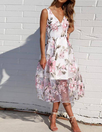 V-Neck Sleeveless Print Organza Midi Dress - Fancyqube