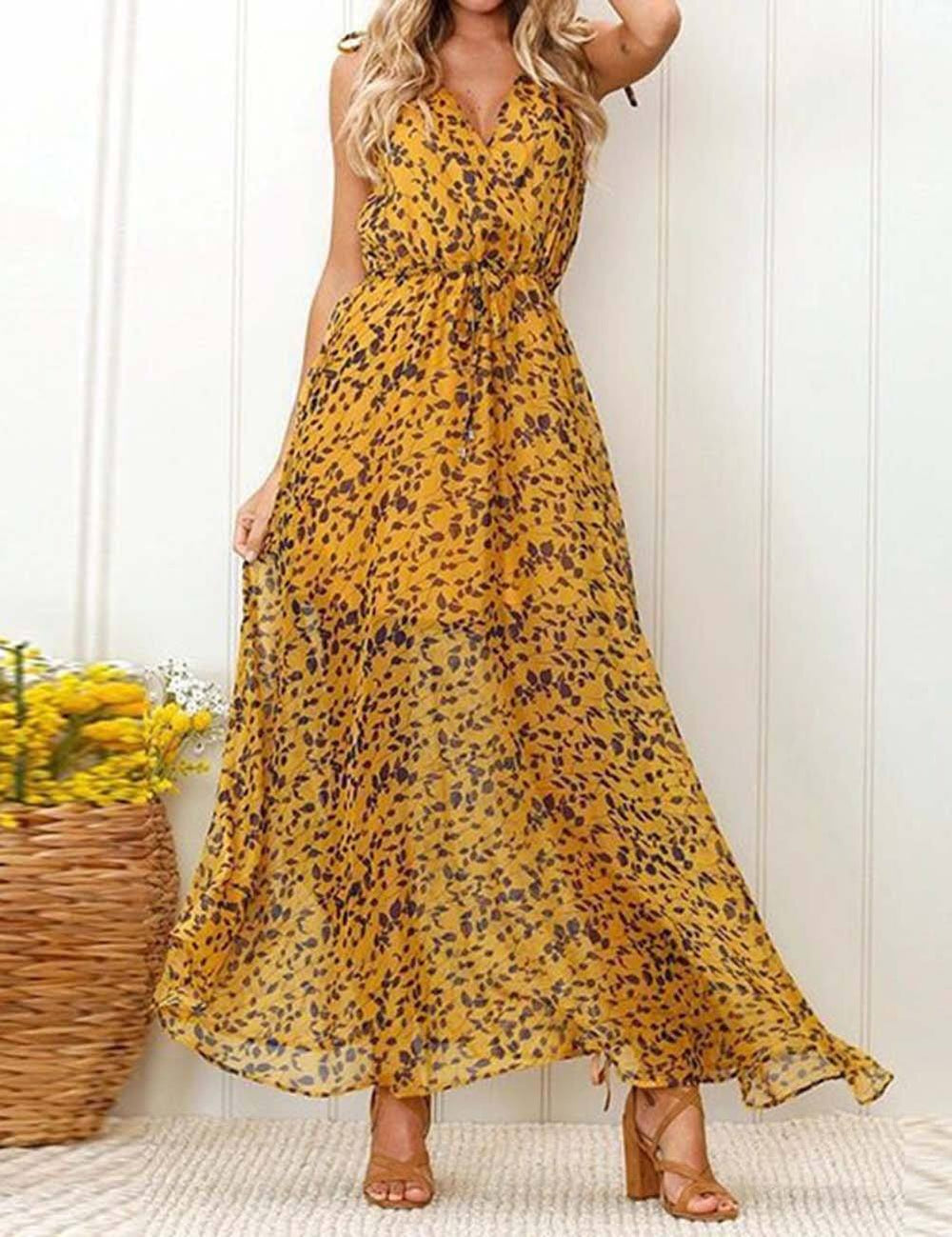 V-Neck Sleeveless Printed Chiffon Cool Maxi Dress - Fancyqube