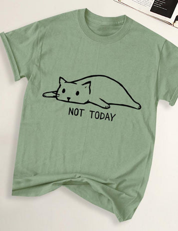 Cute Cartoon Cat Print Short Sleeve Casual T-Shirt