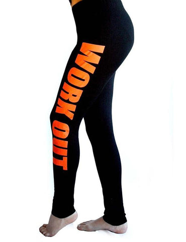Work out Letters Printed Elastic Comfort Sports Yoga Leggings - Fancyqube