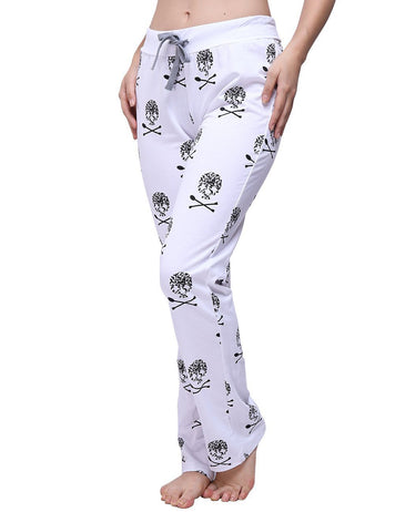 Skull Printed Lace Up Comfortable Home Sleeping Pants - Fancyqube