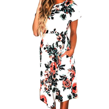 Fashion Summer Short Sleeve Printed Bohemian Beach Dress - Fancyqube