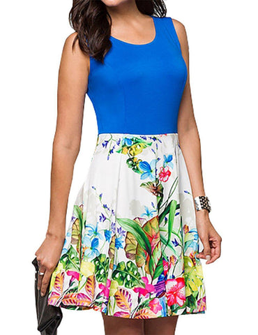 Scoop Neck Sleeveless Floral Printed Stitching Gentle Mini Dress - Fancyqube