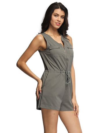Front Zipper V-Neck Sexy Gorgeous Short Jumpsuit - Fancyqube