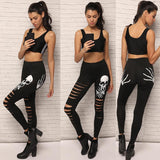 Skull Printed Cutting Hole Black Leggings - Fancyqube
