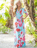 Fashion V-Neck Half Sleeve Print Maxi Dress