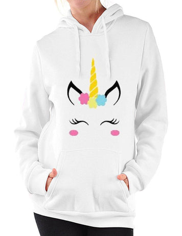 Casual Unicorn Printed Long Sleeve Hooded Sweatshirt - Fancyqube