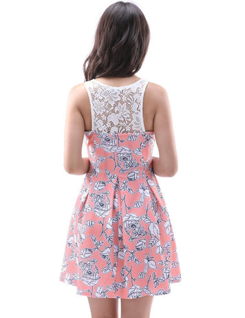 Scoop Sleeveless Back Lace Pink Printed Rose Mini Dress - Fancyqube