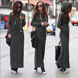 Hooded Sweatshirt Dark Grey Maxi Dress - Fancyqube