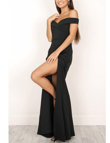 Sheath Off-the-Shoulder Slit Legs Floor-Length Sexy Prom Maxi Dress - Fancyqube