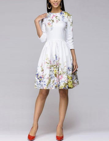 White A-Line 3/4 Sleeve Floral Printed Cocktail Midi Dress
