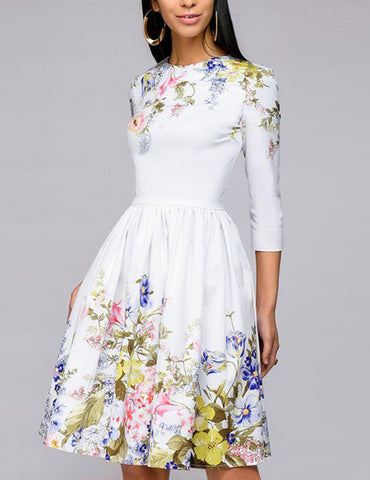 White Elegant Floral Printed Round Neck A-Line Midi Dress