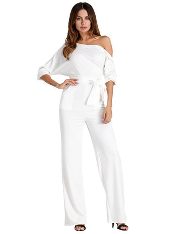 White Oblique One Shoulder Button Wide-Leg Jumpsuit