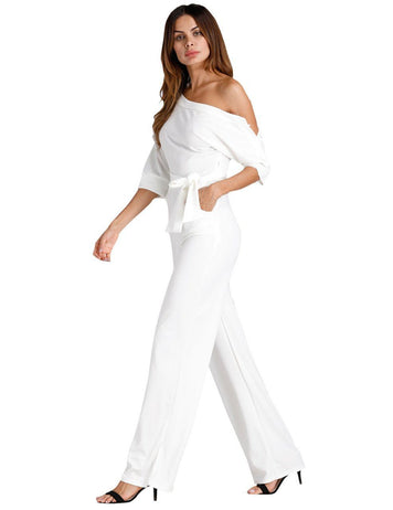 White Oblique One Shoulder Buttons Wide-Leg Jumpsuit