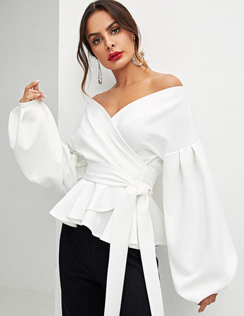 White Off The Shoulder Lantern Sleeves Bowknot Waist Blouse
