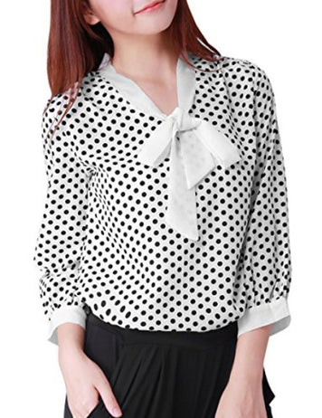 White Polka Dot Long Sleeves Loose Chiffon Blouse