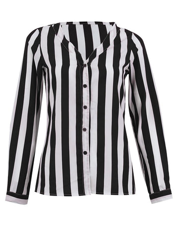 Women V Neck Long Sleeve Black Stripes Career Shirt