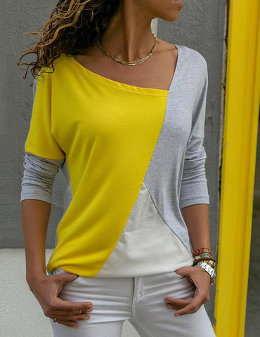 Women Long Sleeve Color Contrast T-shirt