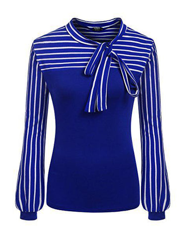 Women's Bow Tie Neck Blue Striped Long Sleeve Blouse