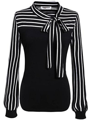 Women's Bow Tie Neck Striped Long Sleeve Work Blouse